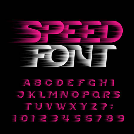 Speed alphabet font. Fast wind effect futuristic type letters and numbers. Stock vector typeface for your design. Easy color change.