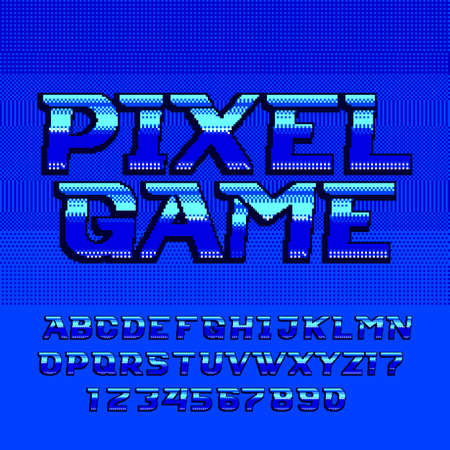 Retro arcade alphabet font. Pixel gradient futuristic letters and numbers. 80s video game typography.