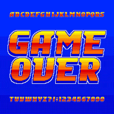 Game over alphabet font. Pixel gradient letters and numbers. 80s arcade video game typescript. Illustration