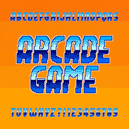 Arcade game alphabet font. Vibrant pixel gradient letters and numbers. Retro 80s video game typescript.