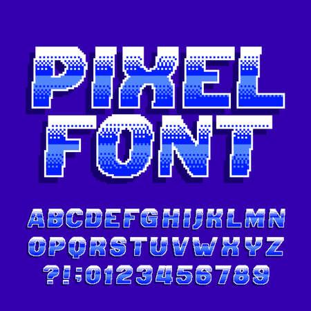 Pixel alphabet font. Digital gradient letters and numbers. Retro 80s arcade video game typescript.