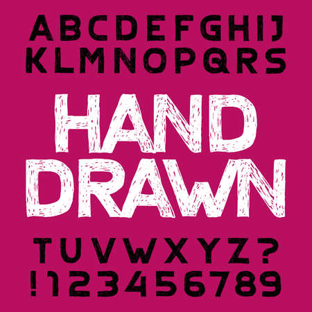 Hand drawn alphabet font. Uppercase handwritten letters and numbers. Stock vector typescript.
