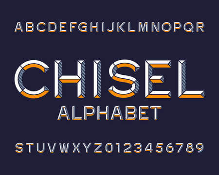 Chisel alphabet font. Type letters and numbers. Chiseled block vector typescript for your design. Illustration