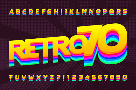 70s retro typeface. Uppercase colorful letters and numbers. Halftone background. Stock vector alphabet for your design in 70s style.