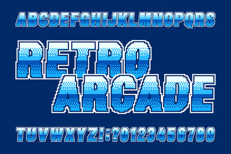 Retro arcade alphabet font. Pixel gradient letters and numbers. 80s video game typeface.
