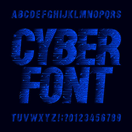 Cyber font. Circuit board vector Alphabet. Digital hi-tech style letters and numbers.