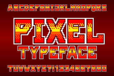 Pixel alphabet typeface. Digital gradient bright letters and numbers. Retro 80s arcade video game font.