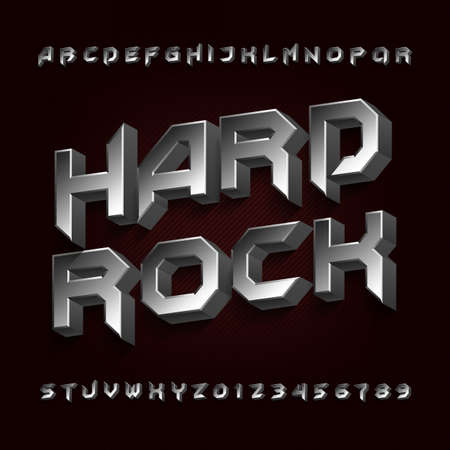 3D Hard rock alphabet font. Metal effect beveled letters and numbers. Stock vector typescript for your design. 일러스트
