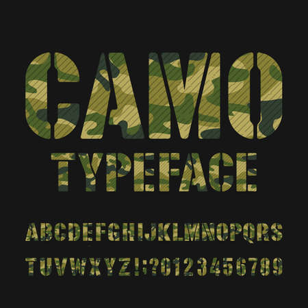 Camo alphabet typeface. Stencil type letters and numbers on a dark background. Vector font for your design.