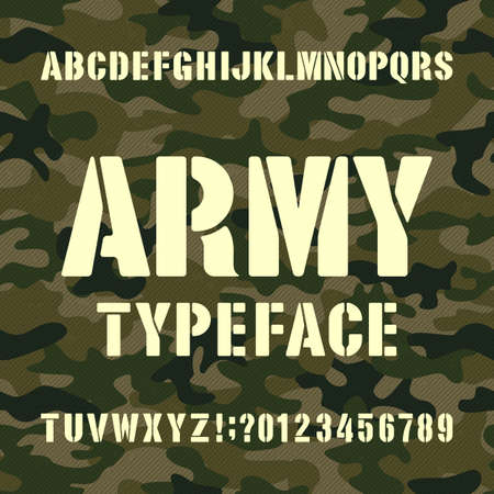 Tipografía del alfabeto del ejército. Plantilla de letras y números sobre fondo de camuflaje angustiado. Fuente de vector para su diseño. Ilustración de vector