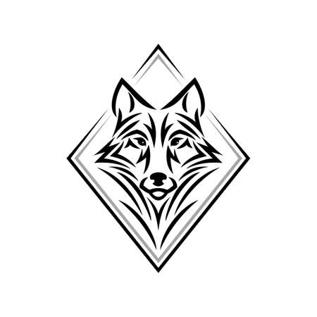 Wolf head   icon in one color. Tribal tattoo style animal head. Stock vector emblem. Illustration