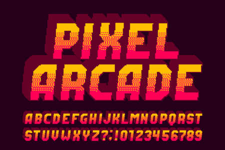 Pixel arcade alphabet font. 3D effect letters, numbers and symbols. 80s video game typeface.