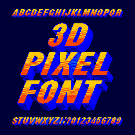 3d pixel alphabet font. Digital gradient letters and numbers. 80s arcade video game typescript. Çizim