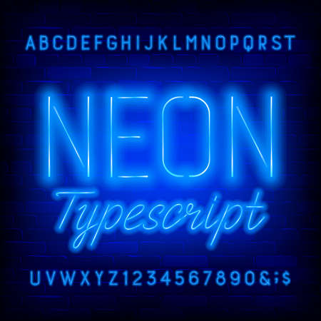 Blue neon alphabet font. Simple light bulb letters and numbers. Stock vector typeface for your typography design.