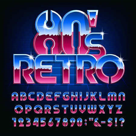 Retro 80s alphabet font. Colorful shiny letters and numbers. Stock vector typescript for your design in 80s style. Vetores