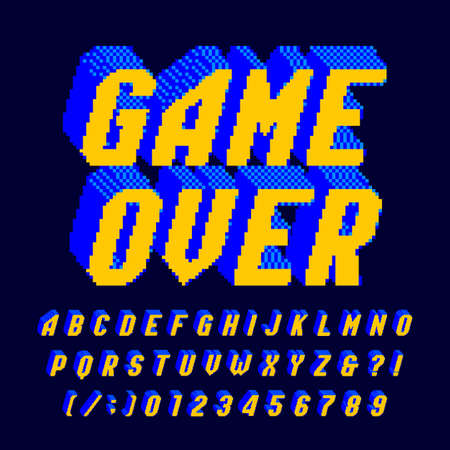 Game Over alphabet font. Digital pixel letters and numbers. 80s arcade video game typescript.
