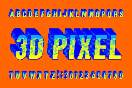 3D pixel alphabet font. Digital pixel letters and numbers. 80s arcade video game typescript. Çizim
