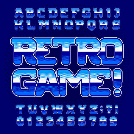 Retro Game alphabet font. Digital pixel gradient letters and numbers. 80s arcade video game typescript.