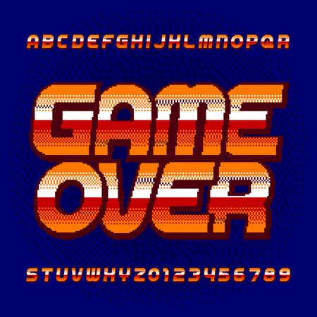 Game Over alphabet font. Digital pixel gradient letters and numbers. 80s retro arcade video game typeface. Çizim