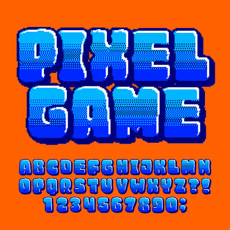 Pixel Game alphabet font. Digital pixel gradient letters and numbers in blue colors. 80s retro arcade video game typeface. Çizim