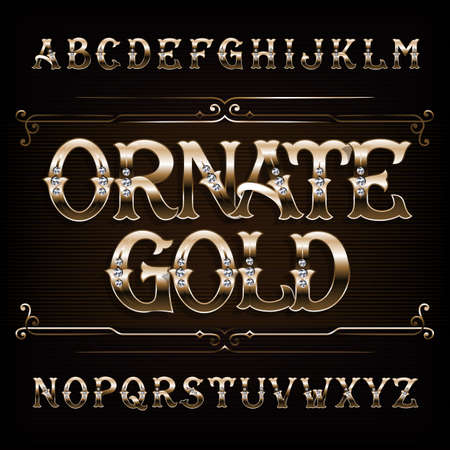 Ornate Gold alphabet font. Vintage golden letters and numbers with diamond gemstone. Stock vector typeface for your design.