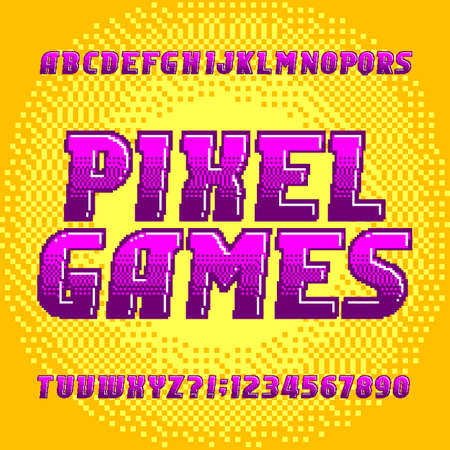 Pixel Game alphabet font. Digital gradient letters and numbers on pixel background. 80s retro arcade video game typeface. Çizim