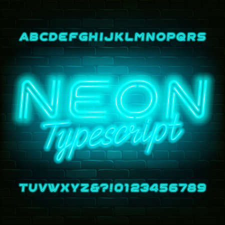 Light blue neon alphabet font. Modern light bulb capital letters and numbers. Stock vector typeface for your typography design. 向量圖像