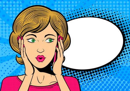 Pop art woman talk on mobile phone. Surprised female face with speech bubble. Retro dotted background. Stock vector illustration.