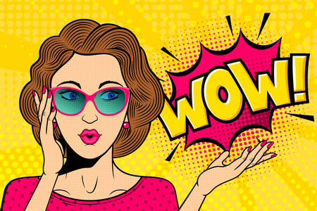 Pop art surprised female face. Comic woman in glasses with wow! speech bubble. Retro pink dotted background. Stock vector illustration for discount or party invitation poster.