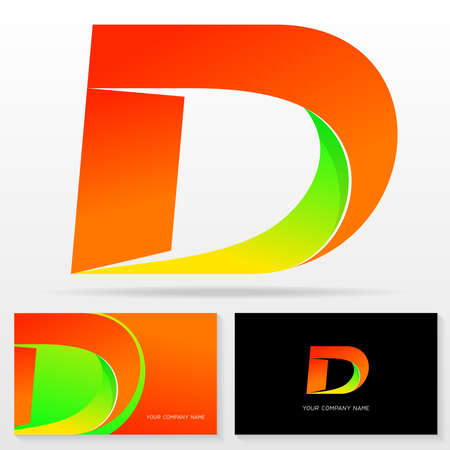 Letter D logo and business card templates. Vector illustration.