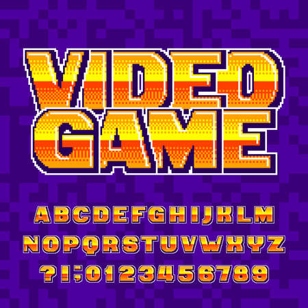 Video Game alphabet font. Digital pixel gradient letters and numbers. 80s retro arcade video game typescript. Çizim