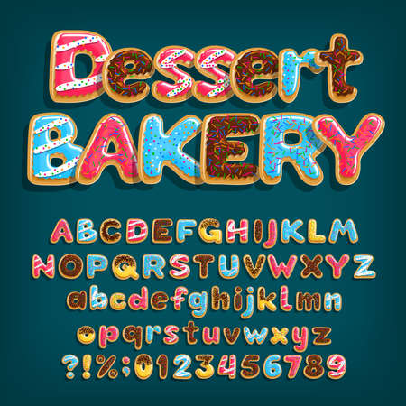 Dessert Bakery alphabet font. Uppercase and lowercase dessert letters. Letters, numbers and symbols with glazed donuts. Stock vector illustration.