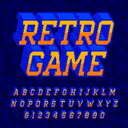 Retro Game alphabet font. Digital 3d pixel letters and numbers. 80s retro arcade video game typescript.