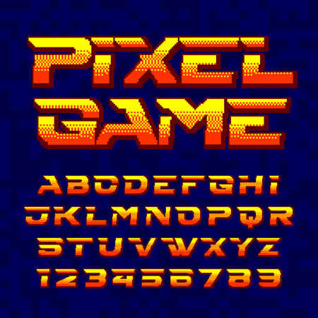 Pixel Game alphabet font. Digital pixel gradient letters and numbers. 80s retro arcade video game typeface.