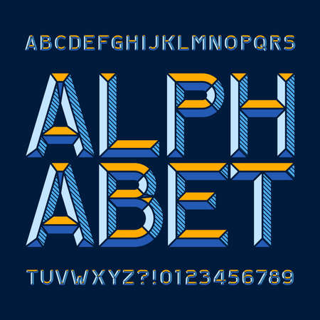 Abstract alphabet font. Type letters and numbers. Chiseled block vector typeface for your design.