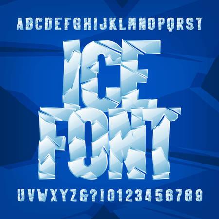 Eis-Alphabet-Schriftart. Gefrorene Buchstaben und Zahlen auf blauem Hintergrund. Vektor-Typoskript auf Lager für Ihr Typografie-Design.