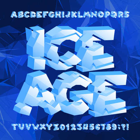 Ice age alphabet font. Frozen 3d letters and numbers on blue polygonal background. Stock vector typeface for your typography design.