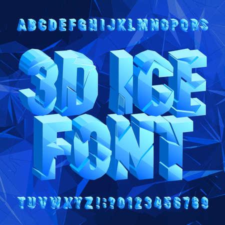 3D czcionki alfabetu lodu. Złamane zamrożone litery i cyfry na niebieskim tle wielokąta. Maszynopis wektorowy do projektowania typografii. Ilustracje wektorowe