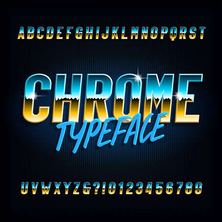 Chrome alphabet font. Metallic effect narrow letters and numbers on dark background. Stock vector typescript for your typography design.