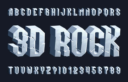 3D rock alphabet font. Cracked letters and numbers. Stock vector typescript for your typography design. Ilustrace