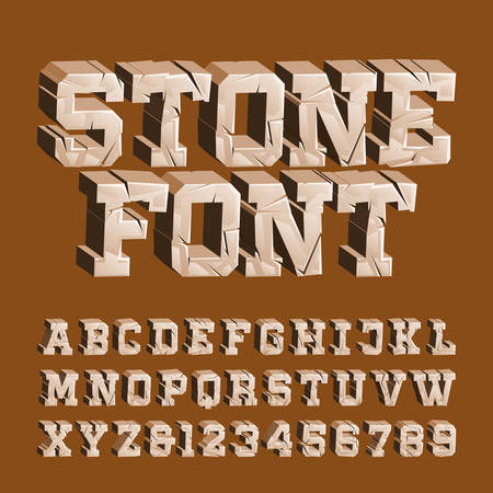 Cracked stone alphabet font. 3D damaged letters and numbers. Stock vector typescript for your typography design. Ilustração