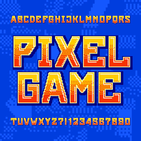 Pixel Game alphabet font. Digital gradient letters and numbers on pixelated background. 80s retro arcade video game typeface. Çizim