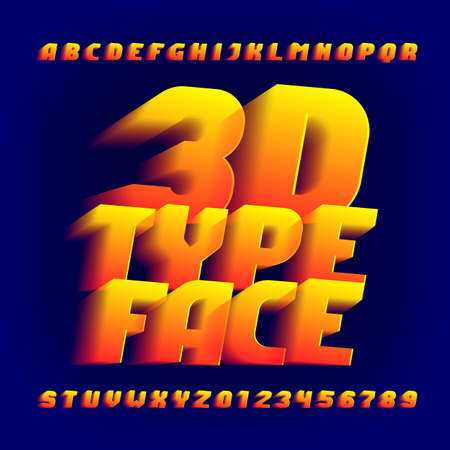 3D alphabet font. 3d effect letters and numbers on dark background. Stock vector typeface for your design.