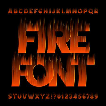 Feuer-Alphabet-Schriftart. Flammeneffekt Buchstaben und Zahlen auf schwarzem Hintergrund. Vektor-Typoskript auf Lager für Ihr Design.