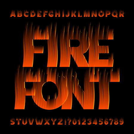 Fire alphabet font. Flame effect letters and numbers on black background. Stock vector typescript for your design.