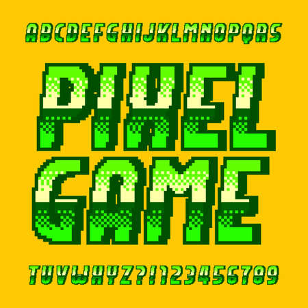 Pixel Game alphabet font. Digital gradient letters and numbers in green color. 80s retro arcade video game typeface. Çizim