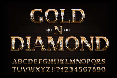 Gold n diamond alphabet font. Serif golden letters and numbers with diamond gemstone. Stock vector typescript for your design. Иллюстрация