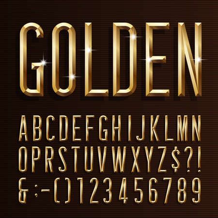 Gold alphabet narrow font. 3d beveled gold effect letters, numbers and symbols. Stock vector typescript for your design.