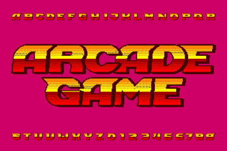 Arcade Game alphabet font. Digital pixel colorful letters and numbers. 80s retro video game typescript. Çizim