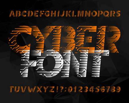 Cyber alphabet font. Digital hi-tech style letters and numbers. Easy color change. Dark polygonal background. Çizim